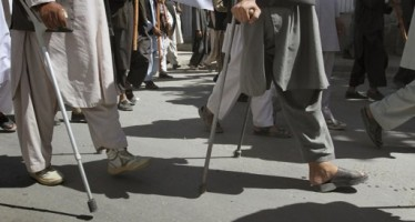 Disabled protest in front of parliament