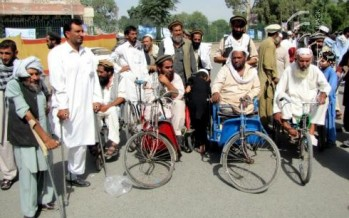 Disabled protest in Nangarhar calling on the government to fulfill their demands