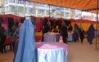 Afghan women display their handicrafts in Mazar-e-Sharif