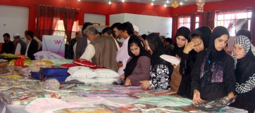 Afghan women's handicrafts are put on display in Baghlan province