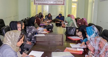 Female government officials participate in women's rights workshop in Balkh