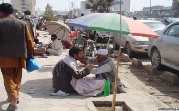 Roadside barbers in Kabul City