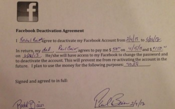 A Father Gave His Daughter a $200 Contract to Stay Off Facebook