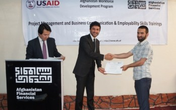 Afghan mid-level job seekers receive training certificates from AFS