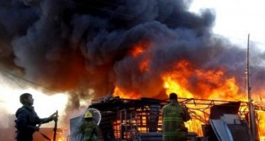 Shops are ablaze as a result of gas explosion in Jalalabad