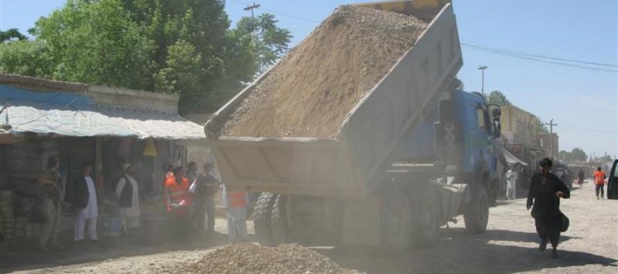 Residents halt work on a substandard road project in Paktia