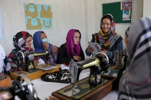 Afghan women attend their tailoring class conducted by Women for Women INternational office in Qala-e-Zaman Khan area of Kabul province on July 5, 2017 in Afghanistan.