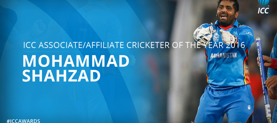 Mohammad Shahzad wins the award for ICC Associate/Affiliate Cricketer of the Year